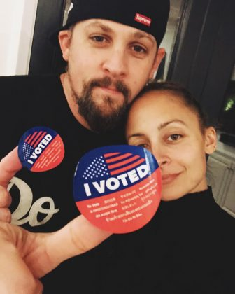 "Joel Madden and wife Nicole Richie took a couple selfie displaying their ""I Voted"" sticker. (Photo: Instagram)"