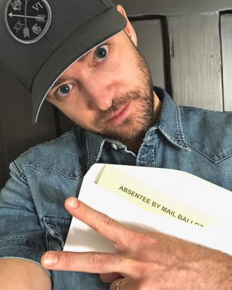 "Justin Timberlake shared a photo of his absent ballot and reminded his fans that ""NO voting booth selfies"" are allowed. (Photo: Instagram)"