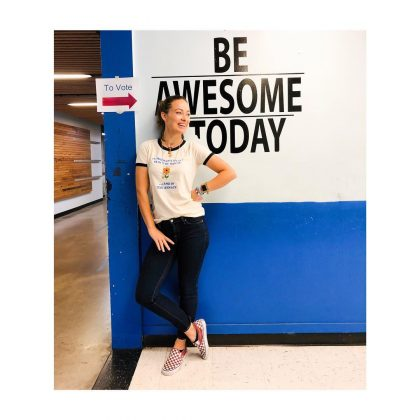 "Olivia Wilde posted an Instagram of herself at the polls with the caption, ""Go be awesome and VOTE YOUR FRIGGING FACE OFF!"" (Photo: Instagram)"