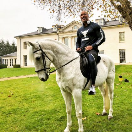 Dwayne Johnson spent his Thanksgiving riding horses in London. (Photo: Instagram)
