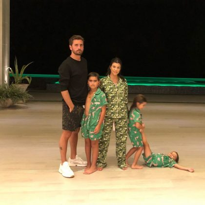 Former couple Kourtney Kardashian and Scott Disick celebrated Thanksgiving together with their three kids and had a slumber party afterwards. (Photo: Instagram)