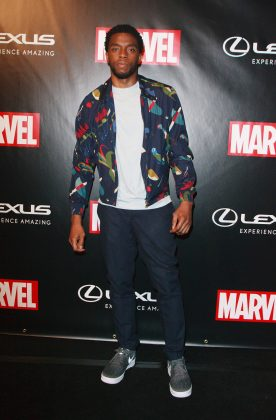 Chadwick looked effortlessly cool at the Marvel Studios and Lexus Comic-Con party wearing a navy bomber jacket with eye-catching colorful print. (Photo: WENN)