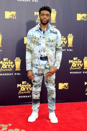 "The actor attended the 2018 MTV Movie and TV Awards wearing Virgil Abloh Impressionism"" painted denim jacket and jeans with a Monet inspired shirt. (Photo: WENN)"