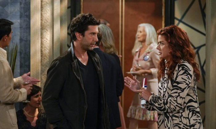 """Will & Grace""— Schwimmer appeared as Grace's reluctant new love interest, Noah, a notorious Twitter user called ""the West Side curmudgeon."" (Photo: Release)"