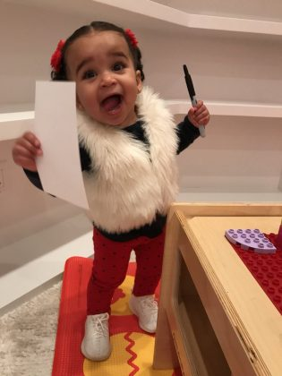"Baby Dream was all laughs and smiles while after spending a ""beautiful weekend"" with daddy Rob Kardashian. (Photo: Instagram)"
