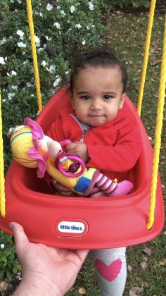 Kardashian spent time with his baby girl Dream as she took a swing outdoors. (Photo: Instagram)