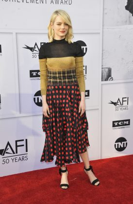 Stone made a fashion statement wearing a color blocking, check print, and polka dots red-brown dress at the AFI life Achievement Awards. (Photo: WENN)