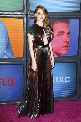 """Emma Stone Givenchy dress for the premiere of her Netflix how """"Maniac"""" was a metallic lame design with sunray pleat and cutout panel in the front. (Photo: WENN)"""
