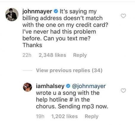 That same day, John Mayer commented on her YSL Beauty lipstick ad, to which she also jokingly responded. (Photo: Instagram)