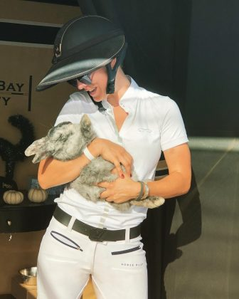 Because Kaley knows the only way to cuddle with a rabbit is to hold it like a baby. (Photo: Instagram)