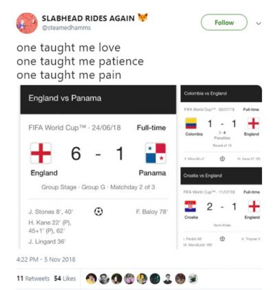 When is England going teach us about winning, though? (Photo: Twitter)