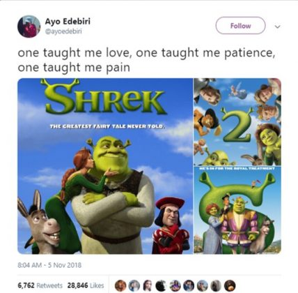 I love how this doesn't even acknowledge Shrek 4. (Photo: Twitter)
