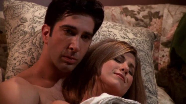 "Because THEY WERE ON A BREAK. And even if you don't agree with that, what Ross did was awful. If he really ""loved"" Rachel, maybe he shouldn't have gone out and slept with the copy girl ASAP! (Photo: Release)"
