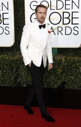 Gosling looked draper wearing a white jacket paired with black trouser and bow tie at the 2017 Golden Globe Awards. (Photo: WENN)