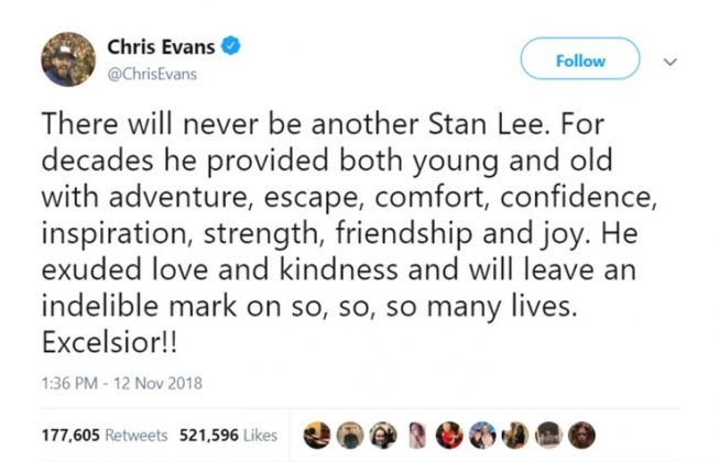"""Captain America"" actor Chris Evans to honor Stan Lee's legacy. (Photo: Twitter)"