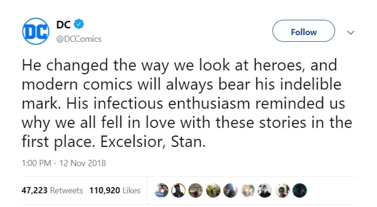 Rival comics company DC also took to Twitter to pay homage to Stan Lee. (Photo: Twitter)