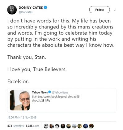"""Venom"" and ""Guardians of the Galaxy"" comics writer Donny Cates reflected on the influence of Stan Lee in his personal life. (Photo: Twitter)"