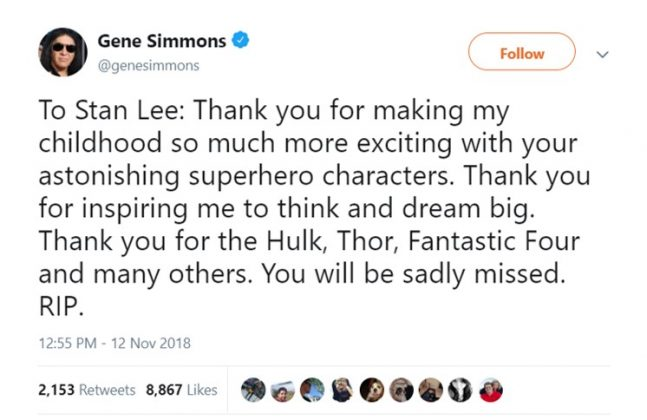 "KISS founder Gene Simmons thanked Stan Lee for making his childhood ""so much more exciting."" (Photo: Twitter)"