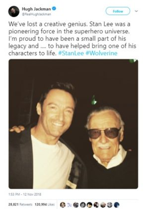 """Wolverine"" star Hugh Jackman shared a picture with Stan Lee along a heartwarming message. (Photo: Twitter)"