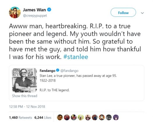 """Aquaman"" director James Wan said his youth ""wouldn't have been the same"" without Stan Lee. (Photo: Twitter)"