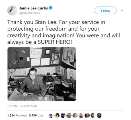 "Actress Jamie Lee Curtis called Stan Lee ""a super hero."" (Photo: Twitter)"