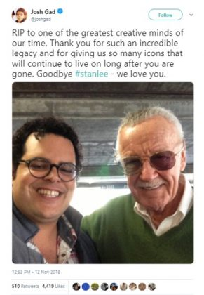 "Josh Gad posted a selfie with Stan Lee and called him ""one of the greatest creative minds of our time."" (Photo: Twitter)"