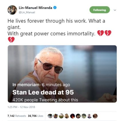Lin-Manuel Miranda said Stan Lee will forever live through his iconic work. (Photo: Twitter