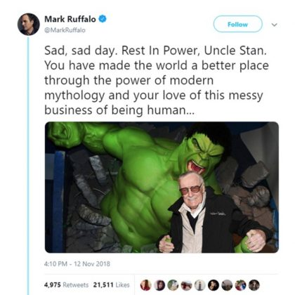"Mark Ruffalo, who plays The Hulk in the Marvel Cinematic Universe said Stan Lee's character ""made the world a better place."" (Photo: Twitter)"