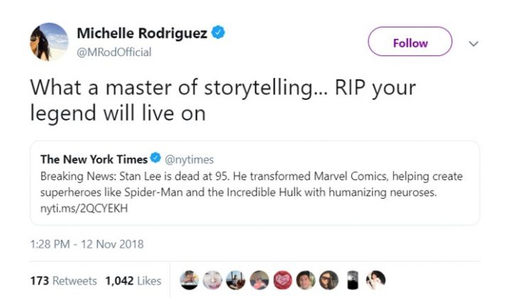 "Actress Michelle Rodriguez mourned the passing of Stan Lee calling him ""a master of storytelling."" (Photo: Twitter)"
