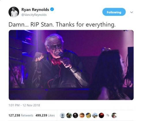"""Deadpool"" star, actor Ryan Reynolds, shared a picture of Stan Lee in one of his iconic Marvel cameos. (Photo: Twitter)"