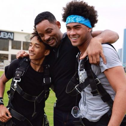 Will Smith supporting his boys Jaden and Trey as they both jumped out of a plane for the first time. (Photo: Instagram)