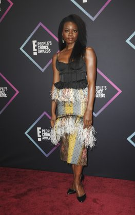 A big night for Black Panther, but Danai, unfortunately, missed the mark with the fringed skirt. (Photo: WENN)