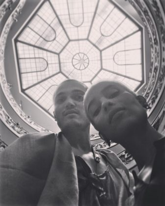 A black and white picture of self-called buddies Karl Glusman and Zoe Kravitz. (Photo: Instagram)