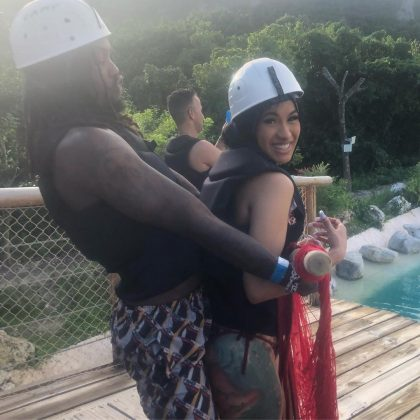 Less than a month before announcing their breakup, Cardi B posted a picture with Offset having a fun date in a waterpark. (Photo: Instagram)