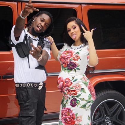 "Cardi B celebrated Offset on Father's Day with this picture of them flashing the camera ""I love how you love your kids,"" she captioned the snap. (Photo: Instagram)"