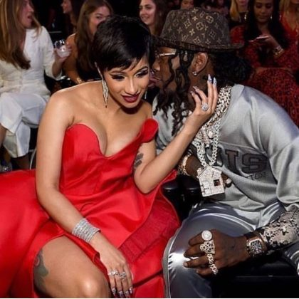 During the 2018 VMAs, Offset was caught on camera romantically whispering something, probably NSFW, to Cardi's ear. (Photo: Instagram)