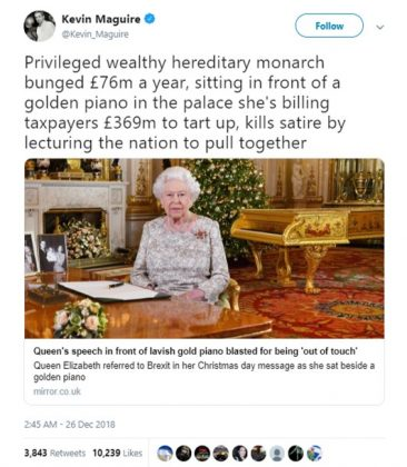 And all these years I thought the Queen's Christmas message was broadcast from a council house in Birmingham. Shocked! (Photo: Twitter)