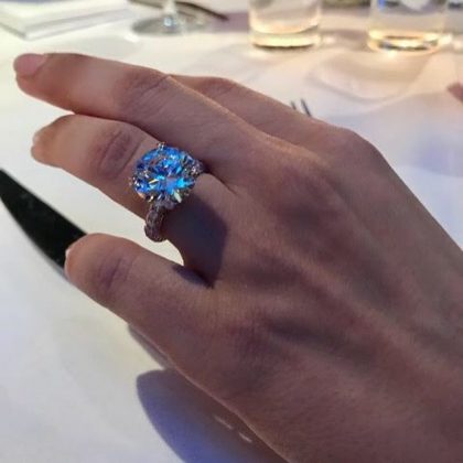 Mira Pak's 7-carat diamond and rose gold engagement ring is worth an estimated $1 million. (Photo: Instagram)