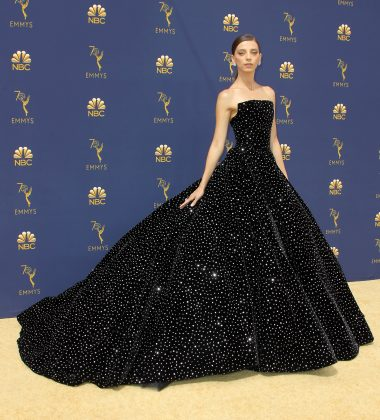 Angela Sarafyan was a sparkling vision at the 2018 Emmys red carpet in a crystal-embellished princess gown by Christian Siriano. (Photo: WENN)