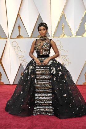 Janelle Monae didn't hold back for her first trip to the Academy Awards and arrived wearing an ornate Elie Saab Couture fairy-tale gown. (Photo: WENN)
