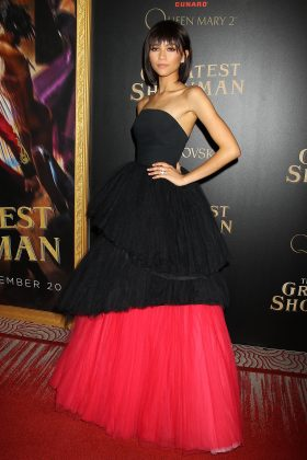 "Zendaya stole the show at the world premiere of her movie ""The Greatest Showman"" wearing a black and red gown tulle strapless gown. (Photo: WENN)"