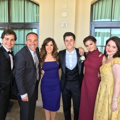 "He attended his on-screen big brother, David Henrie's wedding. The ""Wizards of Waverly Place"" cast had a family reunion at the actor's nuptials, which resulted in this adorable picture of the Russo's and Harper. (Photo: Instagram)"