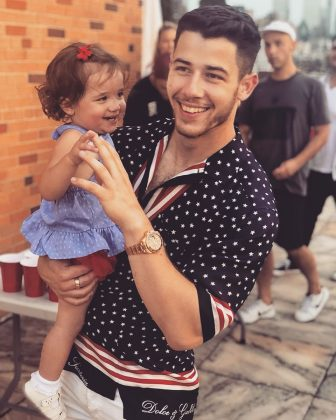 Because Nick definitely knows how to act around kids. He's had plenty of practice with his nieces Alena and Valentina. And they clearly are thrilled to have Nick as an uncle! (Photo: Instagram)