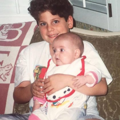 "Because of his amazing throwbacks. Jonah Hill's Instagram page is packed with epic throwback pictures from the mid-90's (totally appropriate). Most of his nostalgic snaps feature his baby sister, Beanie Feldstein, whom he calls ""my hero and my best friend."" (Photo: Instagram)"