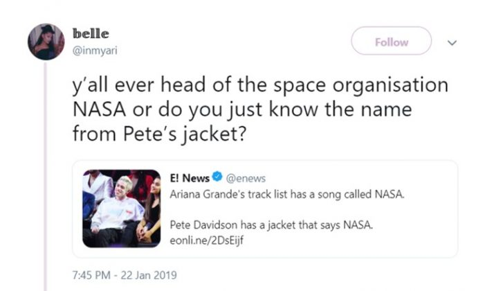 I have a sweatshirt with NASA on it. I guess it's about me too, E! News. (Photo: Twitter)