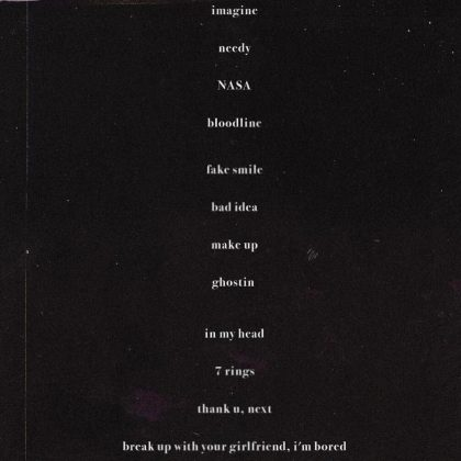 Ariana Grande released the 'Thank U, Next' tracklist via Instagram. (Photo: Instagram)