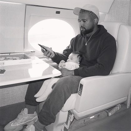 Baby Chicago and Daddy Kanye ready to take off. (Photo: Instagram)