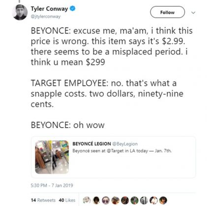 Beyonce: Target really does have the lowest prices! (Photo: Twitter)