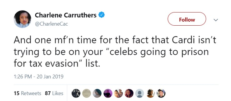 "Many though Cardi's ""4 million in taxes"" tweet was kind of iconic. (Photo. Twitter)"