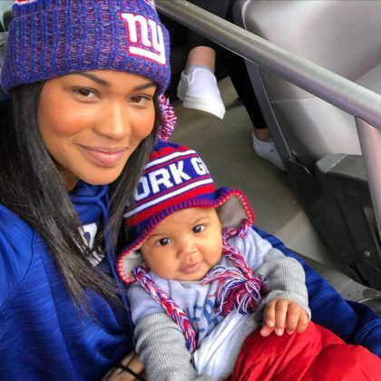 Chanel Iman and her baby welcomed the new year as they cheered for the Sterling Shepard's New York Giants star. (Photo: Instagram)